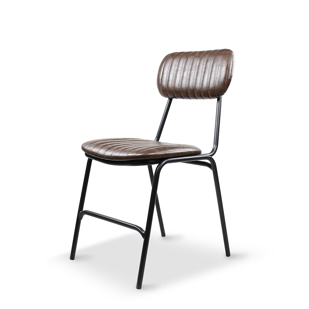 Dackar Vintage Dark Brown Dimension W420 D520 H870 SH470mm  Style Industrial  Design Brushed metal frame, solid ply seat, high density foam. PU upholstery features single stitch detailing and piping.